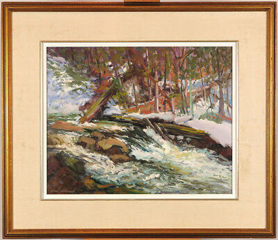 Bruce Heggtveit (1907-2003) Canadian Listed Vtg 1984 Oil/Panel Quebec Landscape