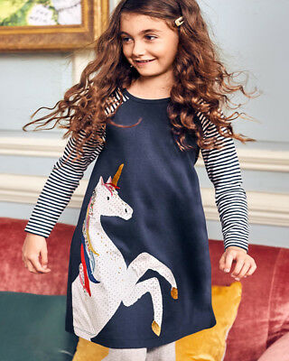 Kids Baby Girls Dress Striped Unicorn Dress Long Sleeve Dress XMAS Party Dresses