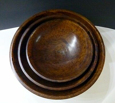 Vtg 3 Thai Mango Wood Nested Hand Turned Round  Bowls - Set Of 3 - Mint
