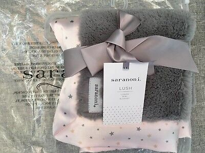 SARANONI Gray Lush/ Blush Pink Twinkle Star Baby Girl LOVEY Mini BLANKET
