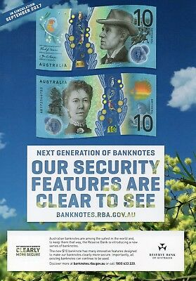 AUSTRALIA NEW $10 2017 with RBA Information Sheet & Book Mark 1 UNC Banknote