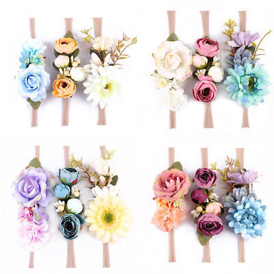 3Pcs/Set Baby Newborn Girls Flower Headband Hair Band Elastic Hairwear New