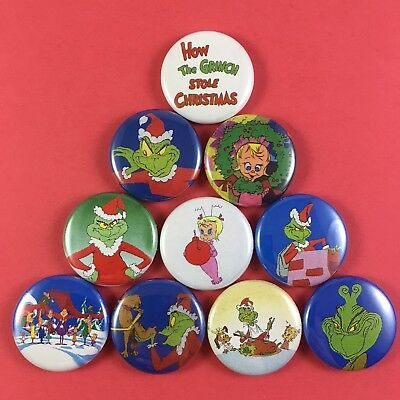 """How the Grinch Stole Christmas 1"""" Button Pin Lot Dr Seuss"""