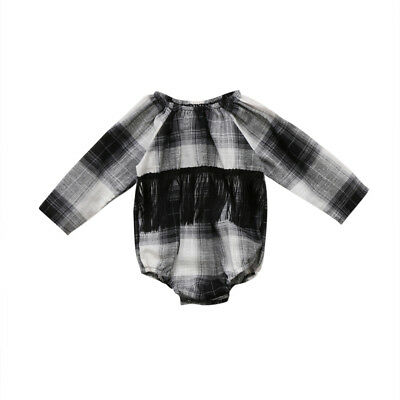 AU Stock Baby Girl Plaid Long Sleeve Romper Jumpsuit Outfits Clothes One-piece