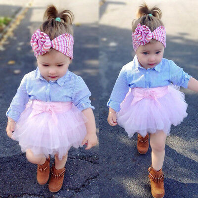 AU Stock Kids Baby Girls Stripe T-shirt Top Lace Skirt Dress Outfits Set Clothes
