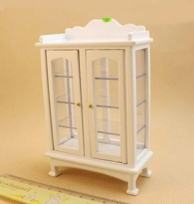 1:12 Dollhouse Miniature Doll Furniture Wooden White Display Cabinet Cupboard ♫