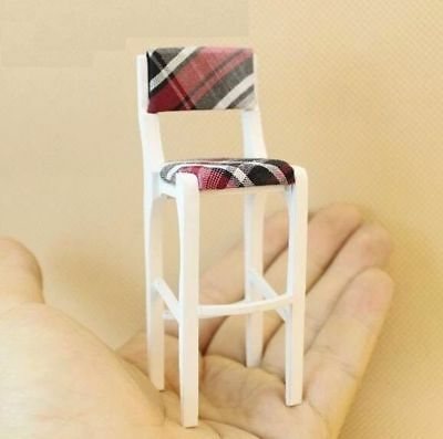 1:12 Dollhouse Miniature Doll Furniture Wooden Bar Stool Upholstered High Chair♫