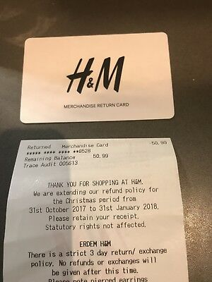 H&M MERCHANDISE / GIFT VOUCHER CARD £50.99 buy now for £45 - 1 day auction!