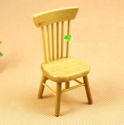 1:12 Dollhouse Miniature Doll Furniture Chic Brown Wooden Dining Chair Stool ♫