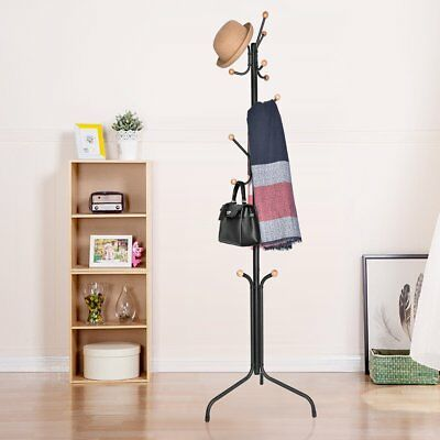 15 Hooks Tree style Metal Coat Rack Stand Hat Bag Clothes Umbrella Black