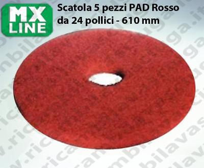 MAXICLEAN PAD, 5 peaces/box , Red color  24 inch - 610 mm | MX LINE