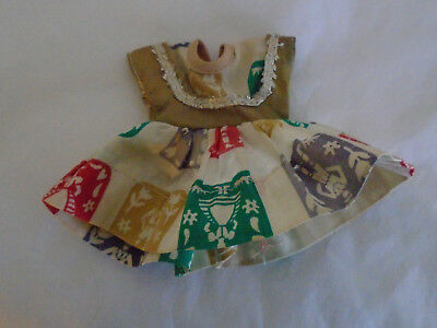 "Vintage 1950s 8"" Untagged Dress for Ginger Virga Muffie Ginny: Squares & Flowers"