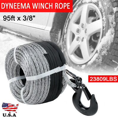 Gray Synthetic Winch Line Cable Rope 3/8'' x 95'' 23809LBs W/ Protective Sleeve