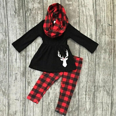 US Stock 3PCS Toddler Kids Baby Girls Outfits Xmas Clothes Tops Dress+Leggings
