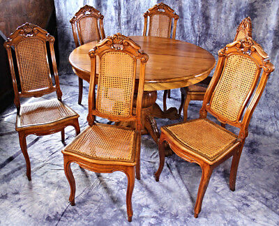 Set of 6 Victorian Walnut Carved Caned Dining Room Chairs French Provincial Side