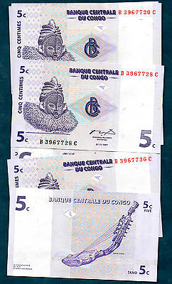 Congo -  1997   Five Cents   - Nice  Type  Note