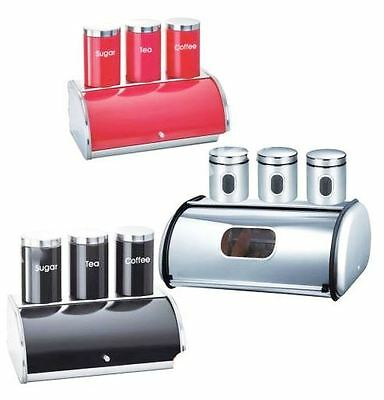4 Pieces Stainless Steel Bread Bin Set With Tea Coffee And Sugar Jars(No28)