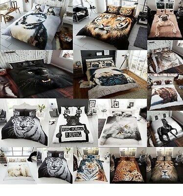 NEW  3D Animal Print Bedding Pillow Cases All Size Or Matching Throw