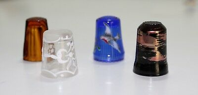 4 Fingerhüte,thimble, Glas, made in Germany, Italy *TOP*