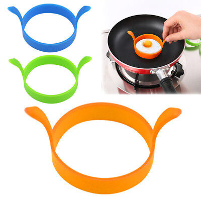 Round Egg Rings Silicone Pancake Mold Ring With Handles Nonstick Frying Tool PR1