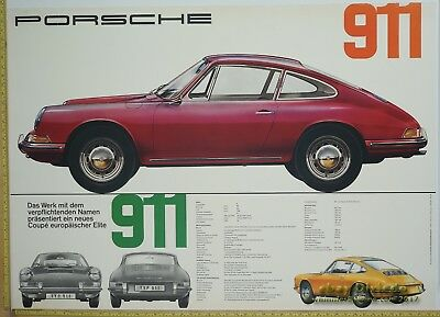 1964 Porsche 911 Dealer Factory Original POSTER Genuine VERY EARLY