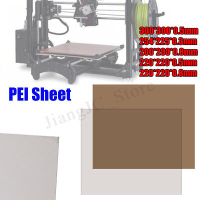 5 Sizes Choose PEI Sheet Polyetherimide Build Surface 3D Printer w/ Adhesive