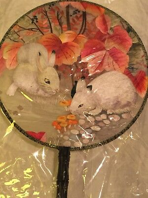 Lovely EMBROIDERED SILK HAND HELD FACE SCREEN Fan, Double Silk Tassel Pink/White