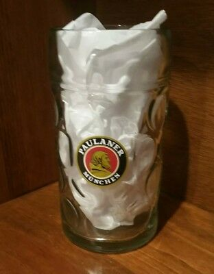New! PAULANER Glass Munchen Germany 1 Liter Beer Stein - Great Cond! (Munich)