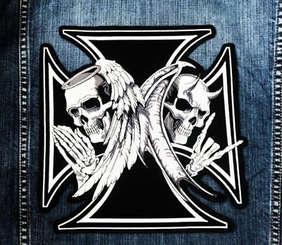LARGE SIZE Skull Devil Angel Wing Maltese Cross Jacket Vest Sewing Iron on Patch