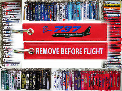 Keyring BOEING 737 in red Remove Before Flight keychain Pilot B737 BLACK PLANE