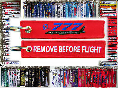 Keyring Boeing 777 B777 777-300 RED Remove Before Flight label keychain pilot