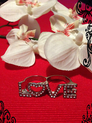 double bague love avec strass - two fingers ring love with rhinestones