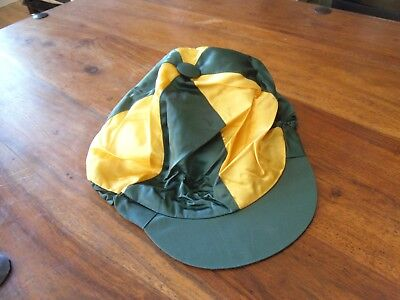 riding hat silk, green and yellow, one size