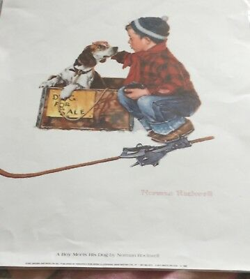Norman Rockwell print. Pride of Parenthood. New puppy. Curtis publishing
