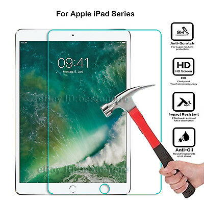 9H Genuine Tempered Glass Screen Film Protection Case For Apple iPad IOS Tablet