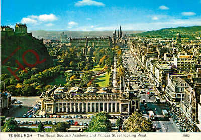 Postcard:-Edinburgh, The Royal Scottish Academy And Princes Street Looking West