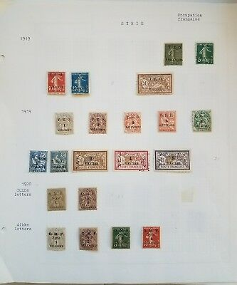Syria, Syrie,1919-25, Many complete sets and rare stamps on 8 Minkus pages.