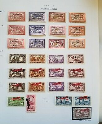 Syria, Syrie,1922-44, Many complete Air sets and rare stamps on 6 Minkus pages.