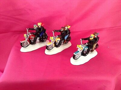 DEPT 56 HARLEY DAVIDSON SNOW VILLAGE TWO FOR THE ROAD  SET OF 3 red,blue,yellow