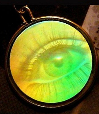 Unisex One-Way 3-D Hologram Eye Pendant Added Link (No Chain) 70s, 80s