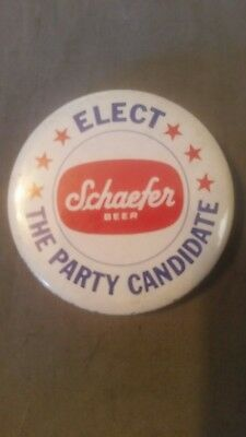 Schaefer Beer Elect the Party Candidate button pinback pin badge