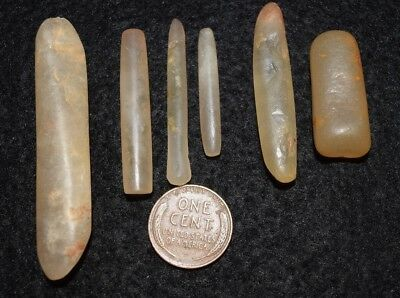 6 Sahara Neolithic labrets, ear/lip piercing, complete, 2 diff.styles polish