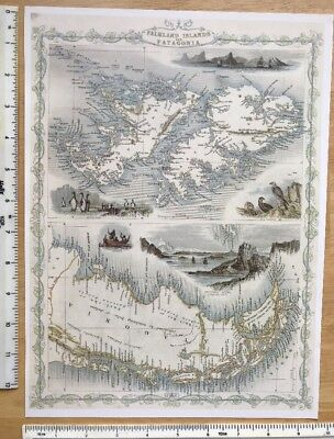 "Antique vintage colour map 1800s: Falkland Islands: Tallis 13 X 9.5"" Reprint"