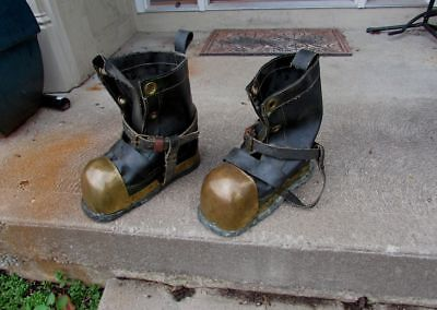 Vintage Deep Sea Diver Scuba Nautical Bronze Brass Leaded Boots SUPER Clean