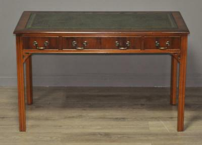 Attractive Large Vintage Yew Wood Leather Top Office Writing Table Desk