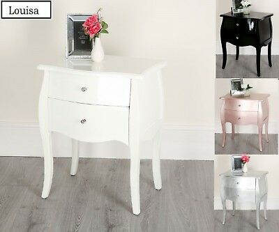 Black White Silver Rose Gold Bed-side 3 Drawers Chest Table Cabinets Shabby Chic