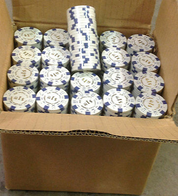 1000 Desert Palace $1 White Clay Composite Poker Chips 11.5gr GREAT DEAL *