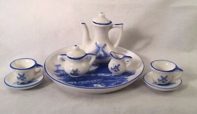 Blue and White Windmill Child Doll Tea Set Made in Taiwan