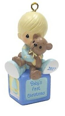 Precious Moments Ornament Baby's First Christmas 2017 with Bear, NEW, Baby Boy