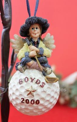 2000 BOYDS Bears BIRDIE FORE Golfing CHRISTMAS Tree ANGEL ORNAMENT #25661 Marked